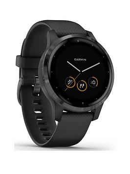Garmin Vivoactive 4S, Smaller-Sized Gps Smartwatch, Features Music, Body Energy Monitoring, Animated Workouts, Pulse Ox Sensors And More, Pvd - Black/Slate