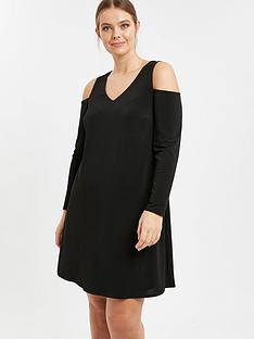evans-black-cold-shoulder-dress