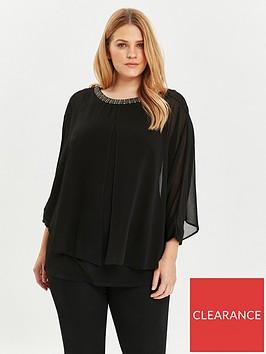 evans-evans-black-sparkle-trim-split-overlay-top