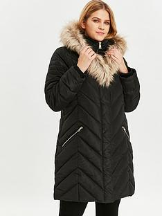 evans-evans-double-layer-faux-fur-trim-padded-coat