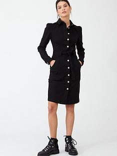 v-by-very-belted-denim-midi-dress-black