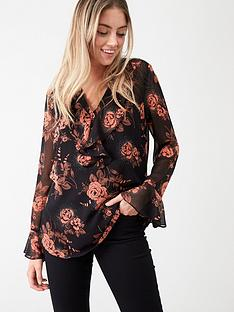 wallis-autumn-rose-ruffle-front-blouse-black
