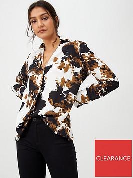 wallis-abstract-animal-print-shirt-neutralivory