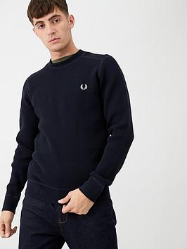 fred-perry-waffle-textured-crew-neck-jumper-navy