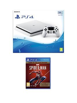 playstation-4-ps4-white-500gb-console-with-marvels-spider-man-game-of-the-year-edition-and-optional-extras