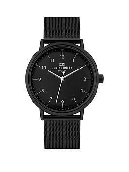 ben-sherman-ben-sherman-black-stainless-steel-mesh-strap-with-black-dial