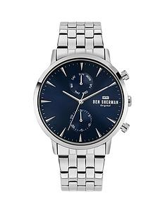 ben-sherman-ben-sherman-silver-stainless-steel-bracelet-with-navy-sunray-dial