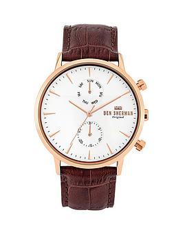 ben-sherman-ben-sherman-brown-croc-leather-strap-with-off-white-dial