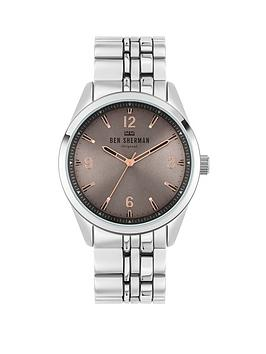ben-sherman-ben-sherman-silver-alloy-bracelet-with-grey-sunray-dial