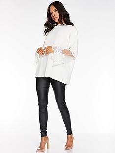 quiz-knitted-crochet-mesh-sleeve-jumper-cream