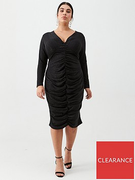 v-by-very-curve-ruched-front-v-neck-dress-black-metallic