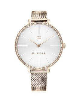 tommy-hilfiger-tommy-hilfiger-silver-sunray-crystal-set-dial-rose-gold-stainless-steel-mesh-strap-ladies-watch