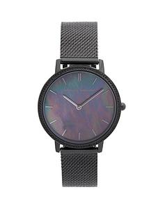 rebecca-minkoff-rebecca-minkoff-black-sunray-dial-black-stainless-steel-mesh-strap-ladies-watch