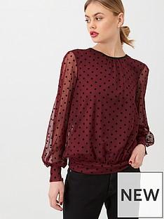 oasis-flocked-spot-mesh-blouse