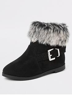 river-island-mini-mini-girls-faux-fur-trim-buckle-boots--black