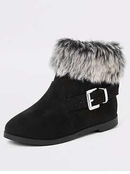river-island-mini-mini-girls-faux-fur-trim-buckle-boots--black