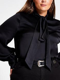 ri-plus-pussybow-blouse-black