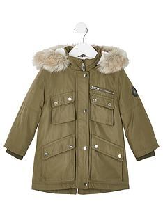 river-island-mini-mini-kids-faux-fur-hooded-parka-khaki