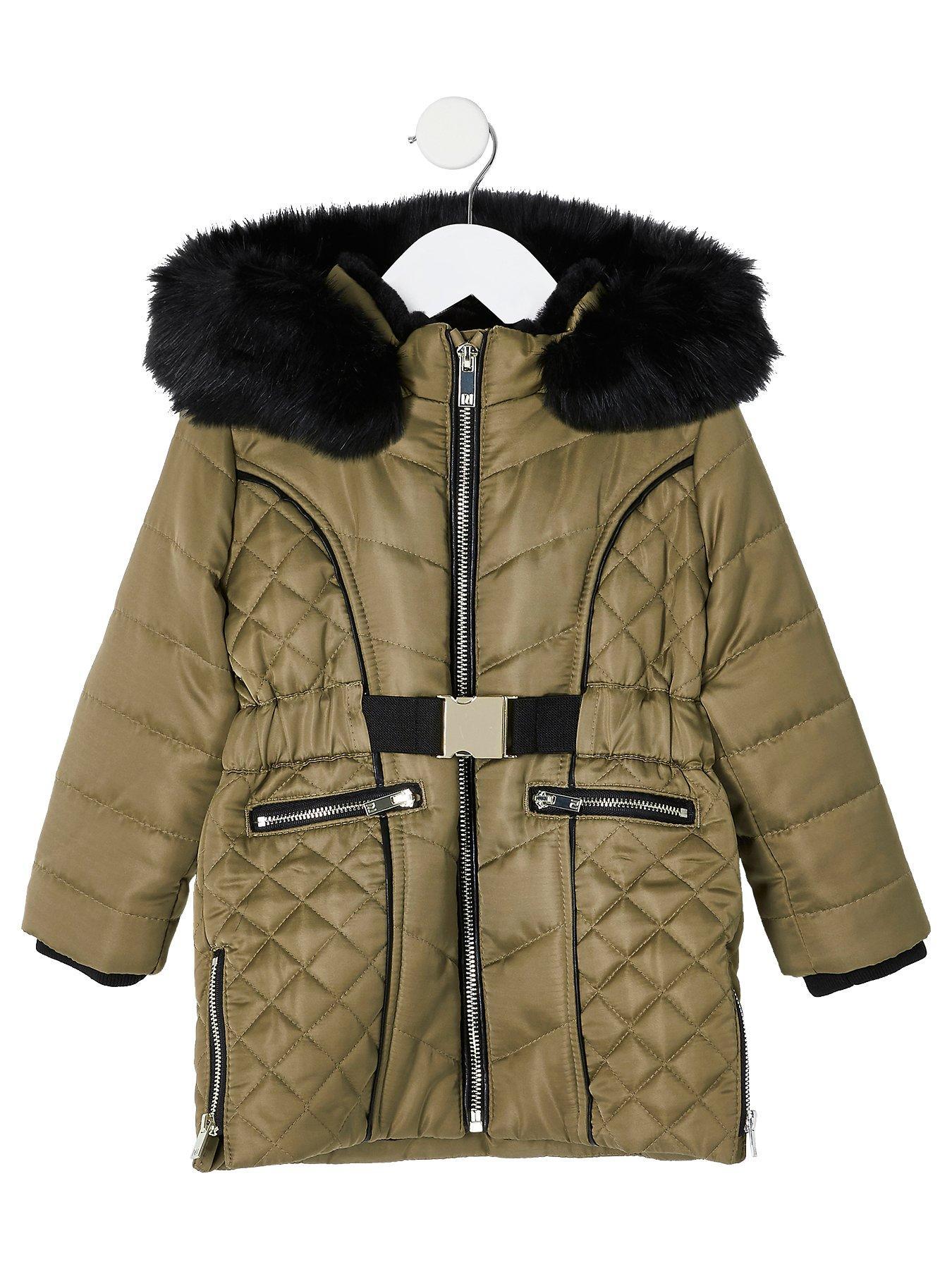 Mini girls yellow belted padded coat