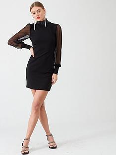 river-island-river-island-mesh-sleeve-mini-dress-black