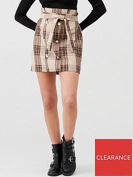 river-island-river-island-check-button-detail-paperbag-mini-skirt-brown