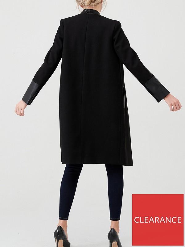 River Island collarless coat in colour block