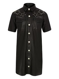 river-island-girls-faux-leather-studded-dress-black