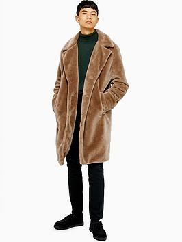 topman-teddy-faux-fur-overcoat-tan