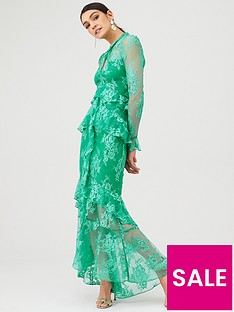 v-by-very-lace-ruffle-front-maxi-dress-green