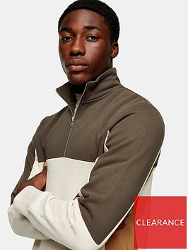 topman-colour-block-half-zip-sweat