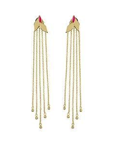 sara-miller-18ct-gold-plated-and-pink-enamel-leaf-trailing-drop-earrings