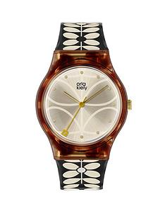 orla-kiely-orla-kiely-bobby-champagne-and-tortoise-shell-dial-black-and-white-stem-print-strap-ladies-watch