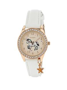 tikkers-tikkers-gold-unicorn-sunray-crystal-set-dial-with-star-charm-and-white-leather-strap-kids-watch