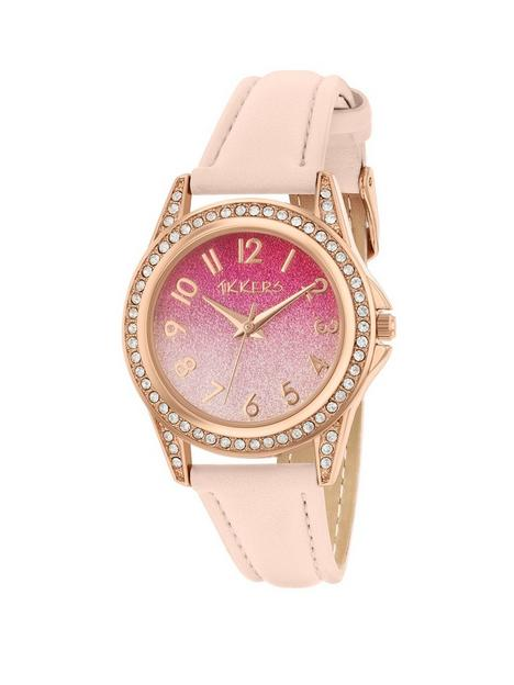 tikkers-tikkers-pink-ombre-glitter-crystal-set-dial-pink-leather-strap-kids-watch