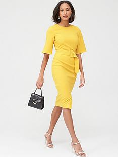v-by-very-covered-buckle-kimono-sleeve-dress-yellow
