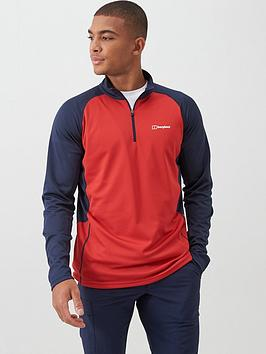 berghaus-long-sleeve-zip-tech-top-red