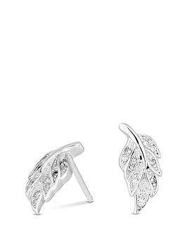 simply-silver-simply-silver-cubic-zirconia-feather-stud-earrings