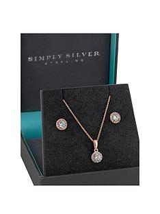 simply-silver-simply-silver-14ct-rose-gold-plated-cubic-zirconia-halo-pendant-and-earring-set