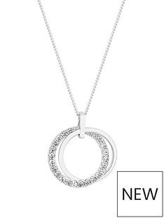 simply-silver-simply-silver-polished-and-cubic-zirconia-double-open-pendant