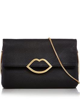 lulu-guinness-issy-grainy-leather-lip-bag-black