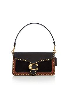 coach-tabby-26-mixed-leather-border-rivets-cross-body-bag-black