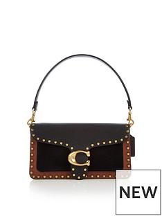 coach-tabby-26-mixed-leather-border-rivets-cross-body-bag-black