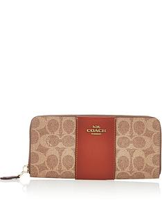 coach-colourblock-coated-canvas-signature-slim-accordion-zip-purse-tan