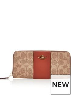 coach-colourblock-coated-canvas-signature-slim-accordion-zip-purse-tan