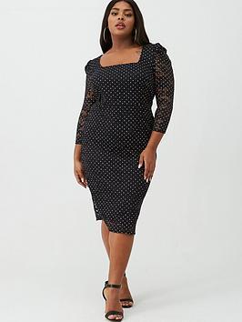 v-by-very-curve-lace-square-neck-pencil-dress-black-spot