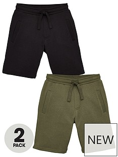 v-by-very-boys-essential-2-pack-jog-shorts-blackkhaki
