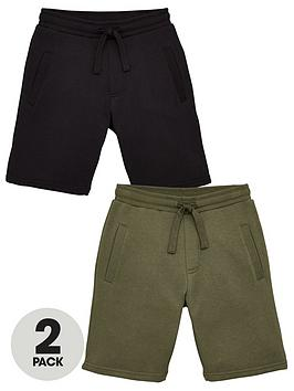 V By Very Boys Essential 2 Pack Jog Shorts - Black/Khaki