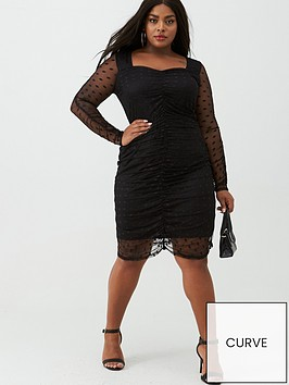 v-by-very-curve-spot-mesh-ruched-pencil-dress-black