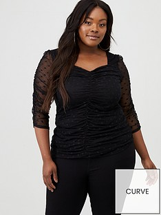v-by-very-curve-spot-mesh-rouched-top-black