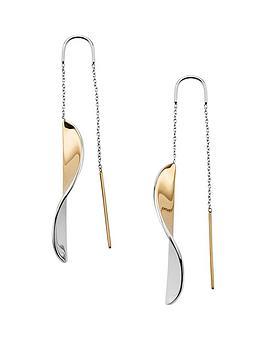 skagen-skagen-silver-and-gold-tone-wave-ladies-drop-earrings